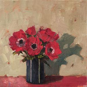 Red Anemones, oil, linen, paintings