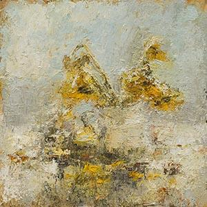 Wilting Sunflowers, abstract, paint, oil