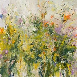 hedgerows, montbretia, oil, painting