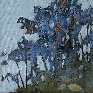 May Bluebells, mixed media, flowers